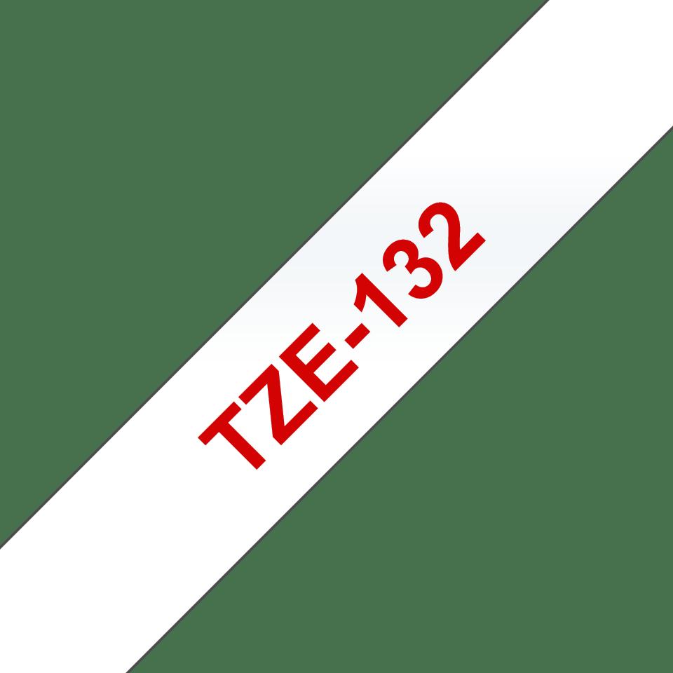 Brother TZe132: оригинальная кассета с лентой для печати наклеек красным на прозрачном фоне, ширина: 12 мм. 3