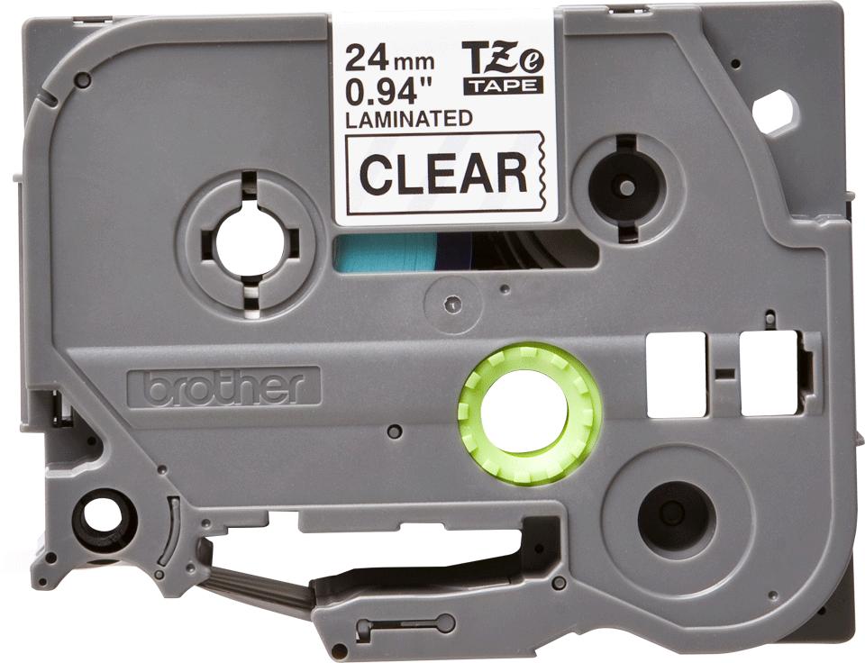 Brother TZe151: оригинальная кассета с лентой для печати наклеек чёрным на прозрачном фоне, ширина 24 мм.