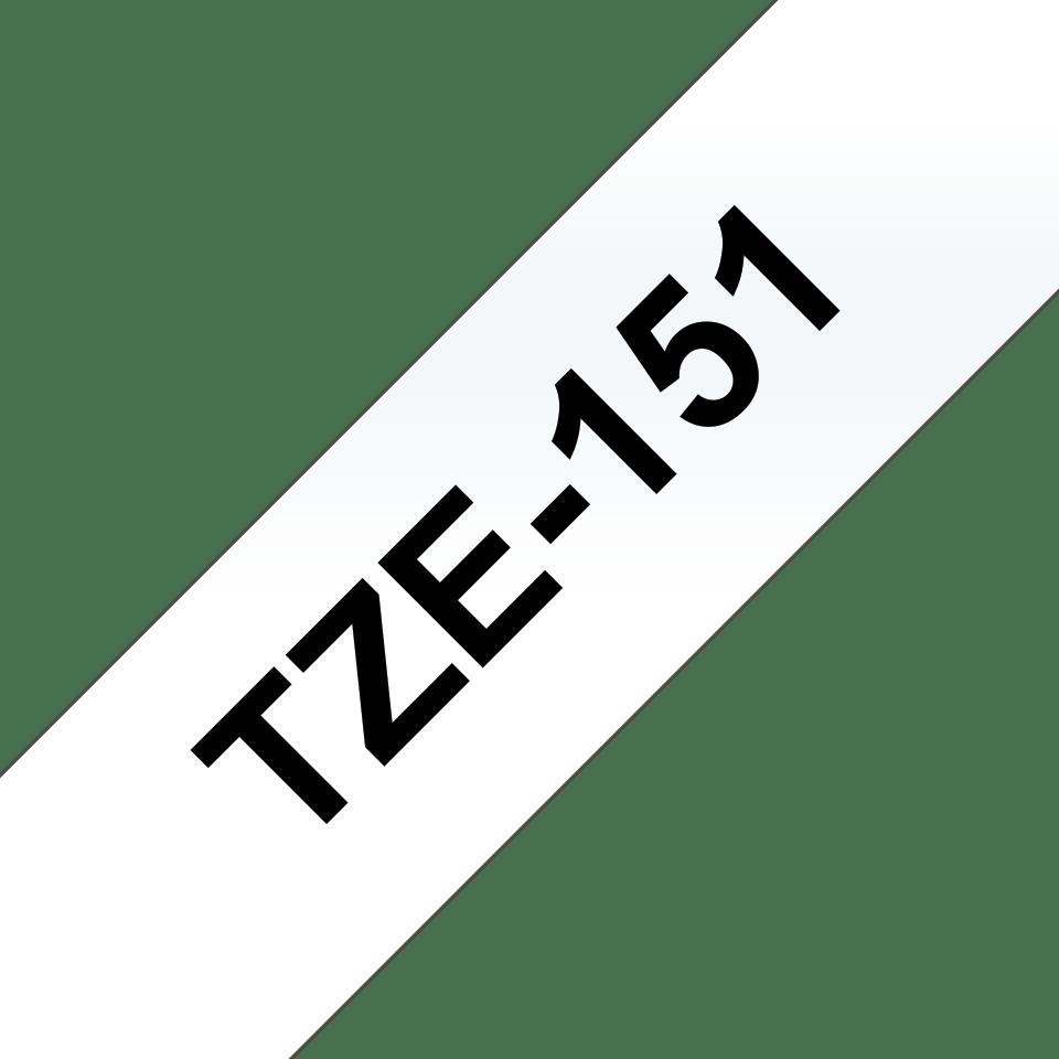 Brother TZe151: оригинальная кассета с лентой для печати наклеек чёрным на прозрачном фоне, ширина 24 мм. 3
