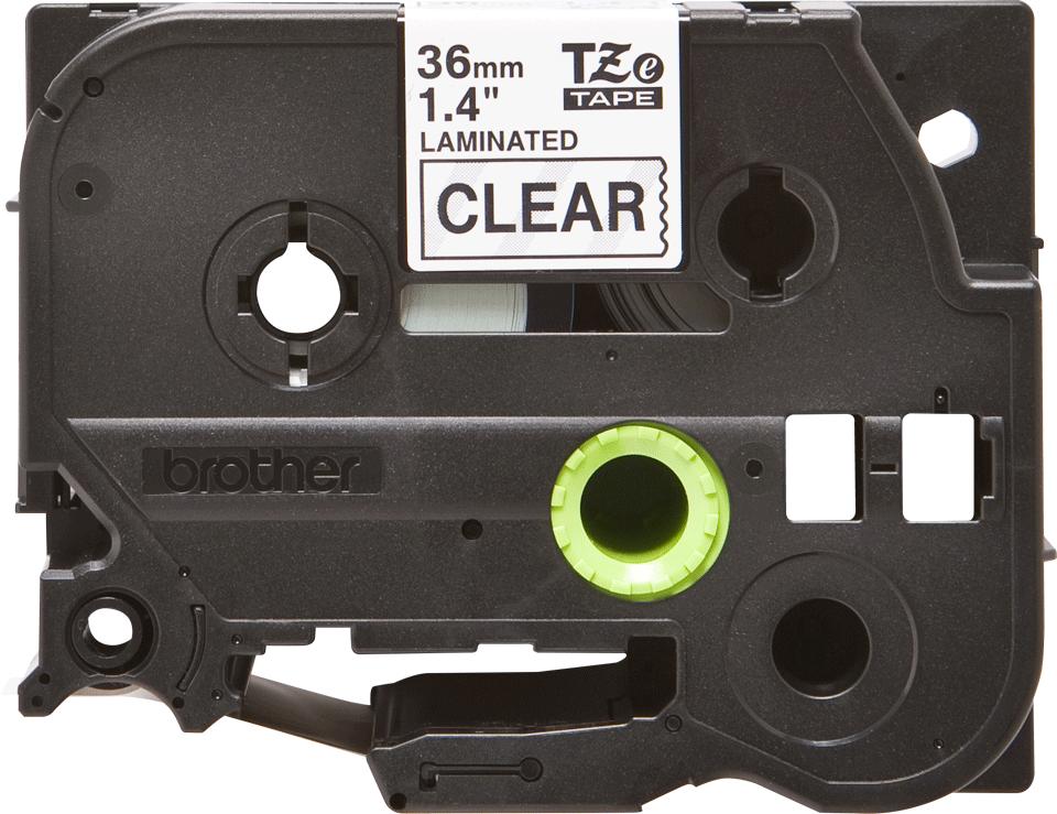 Brother TZe161: оригинальная кассета с лентой для печати наклеек черным на прозрачном фоне, ширина: 36 мм.