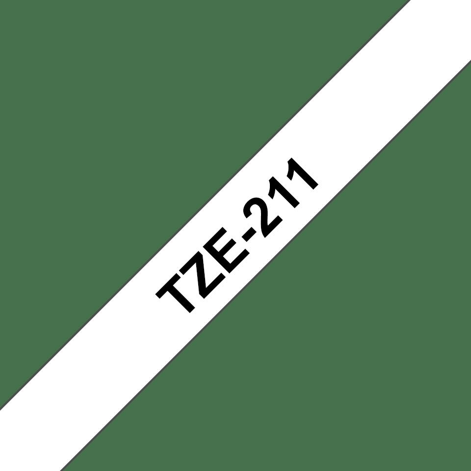 Brother TZe211: оригинальная кассета с лентой для печати наклеек черным на белом фоне, ширина 6 мм. 3