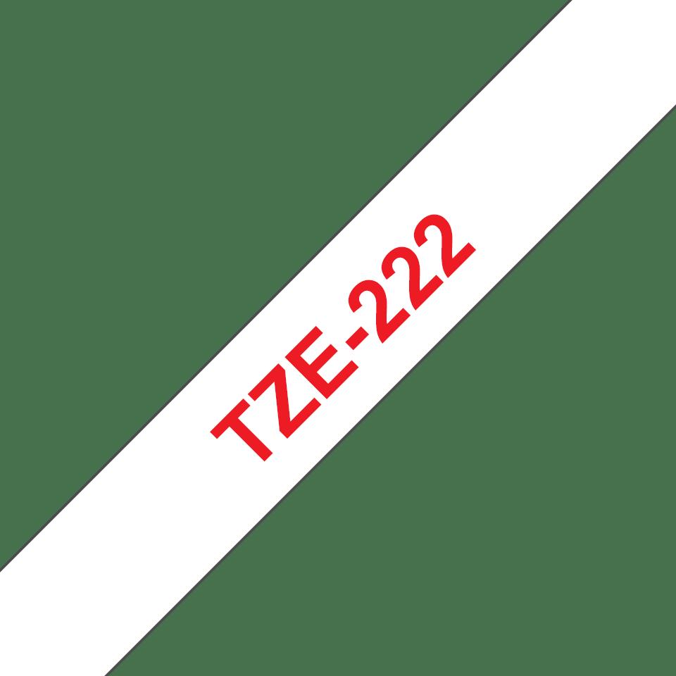 Brother TZe222: оригинальная лента для печати наклеек красным на белом фоне, 9 мм. 3