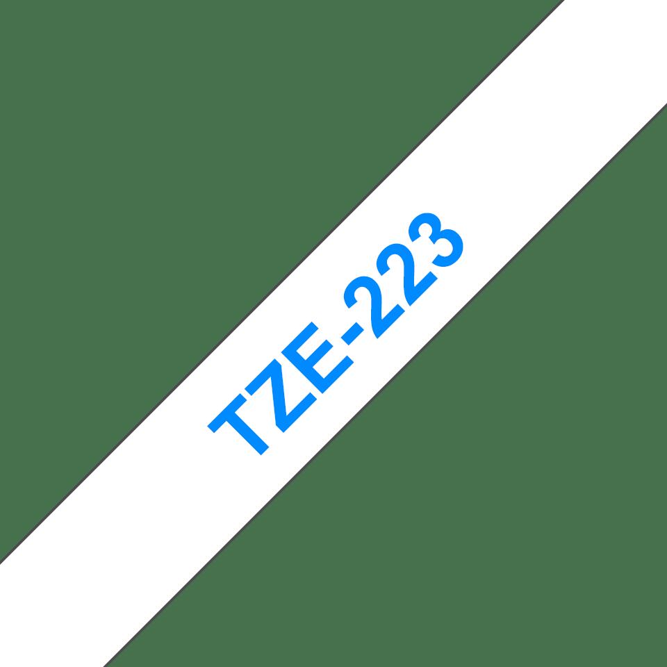 Brother TZe223: оригинальная кассета с лентой для печати наклеек синим на белом фоне, 9 мм. 3