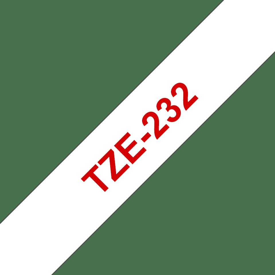 Brother TZe232: оригинальная кассета с лентой для печати наклеек красным на белом фоне, ширина 12 мм. 3
