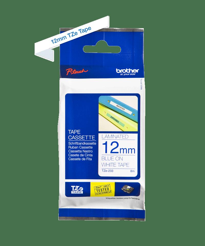 Brother TZe233: оригинальная лента для печати наклеек синим на белом фоне, в одном экземпляре, ширина 12 мм. 2