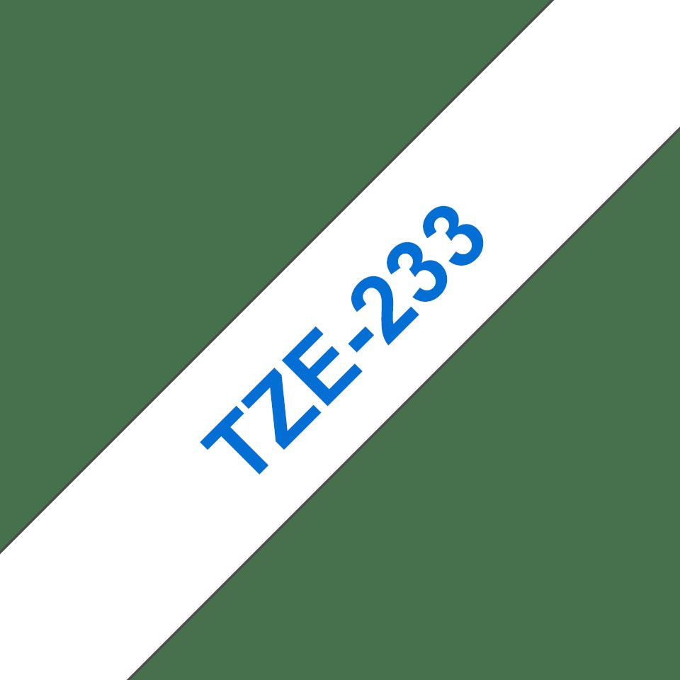 Brother TZe233: оригинальная лента для печати наклеек синим на белом фоне, в одном экземпляре, ширина 12 мм. 3