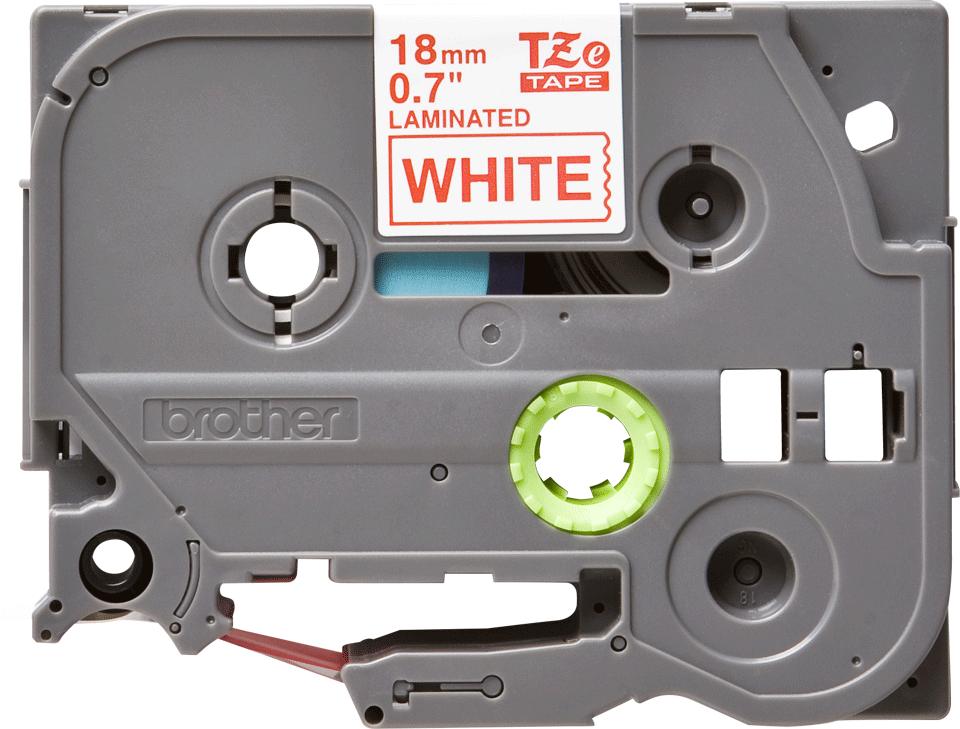Brother TZe242: оригинальная кассета с лентой для печати наклеек красным на белом фоне на принтере P-touch в одном экземпляре, ширина: 18 мм.
