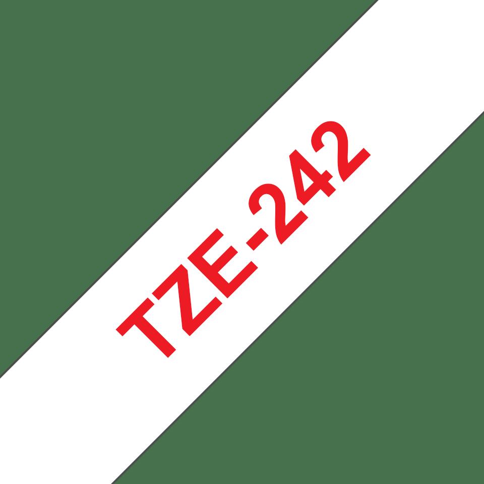 Brother TZe242: оригинальная кассета с лентой для печати наклеек красным на белом фоне на принтере P-touch в одном экземпляре, ширина: 18 мм. 3