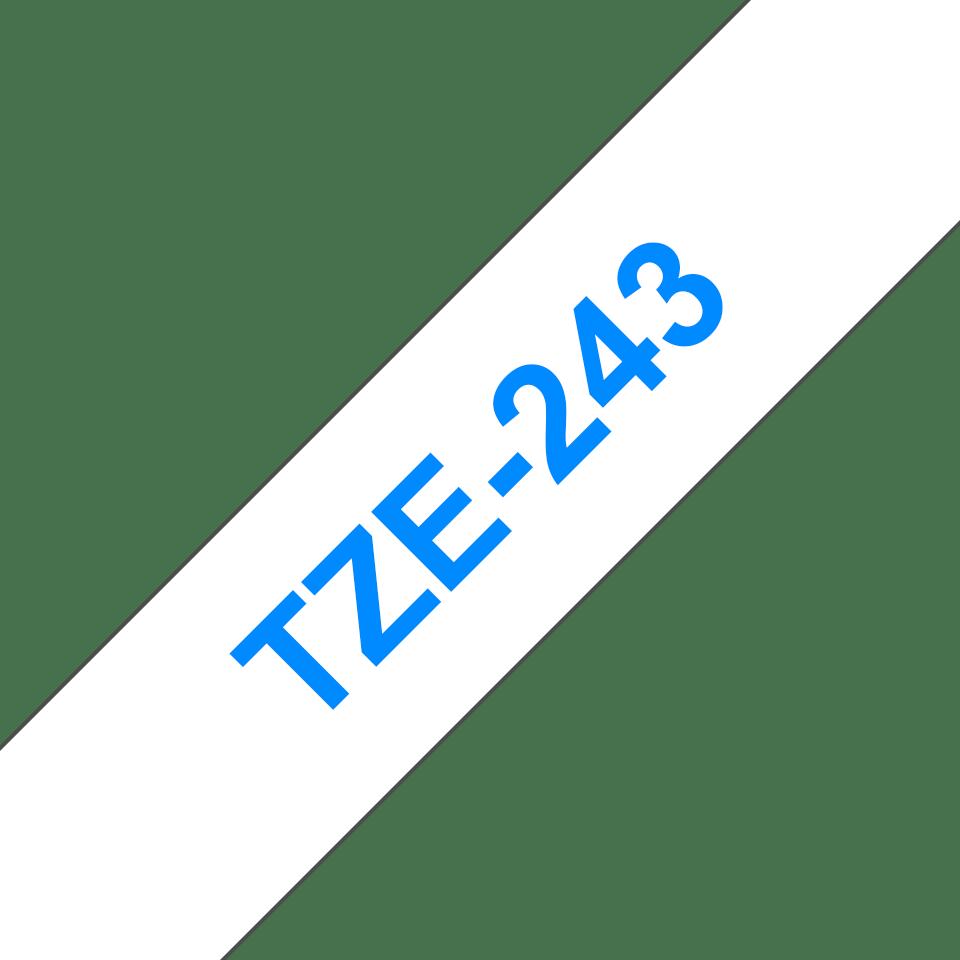Brother TZe243: оригинальная кассета с лентой для печати наклеек синим на белом фоне, ширина: 18 мм. 3