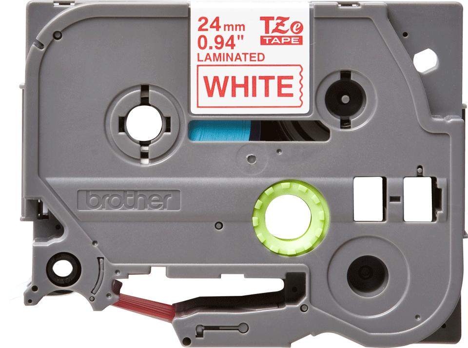 Brother TZe252: оригинальная кассета с лентой для печати наклеек красным на белом фоне, ширина: 24 мм.