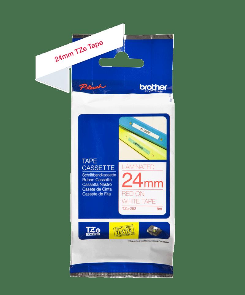 Brother TZe252: оригинальная кассета с лентой для печати наклеек красным на белом фоне, ширина: 24 мм. 2