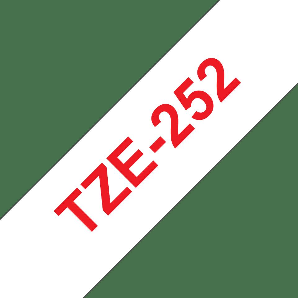Brother TZe252: оригинальная кассета с лентой для печати наклеек красным на белом фоне, ширина: 24 мм. 3
