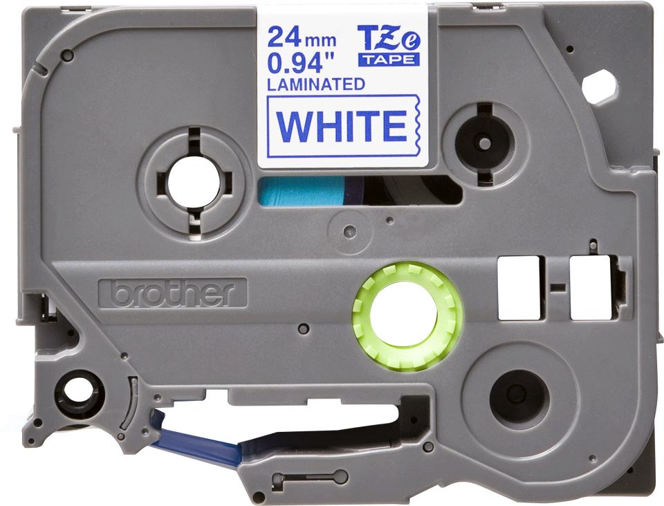 Brother TZe253: оригинальная кассета с лентой для печати наклеек синим на белом фоне, ширина: 24 мм.