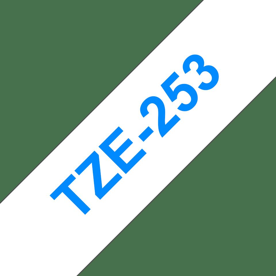 Brother TZe253: оригинальная кассета с лентой для печати наклеек синим на белом фоне, ширина: 24 мм. 3