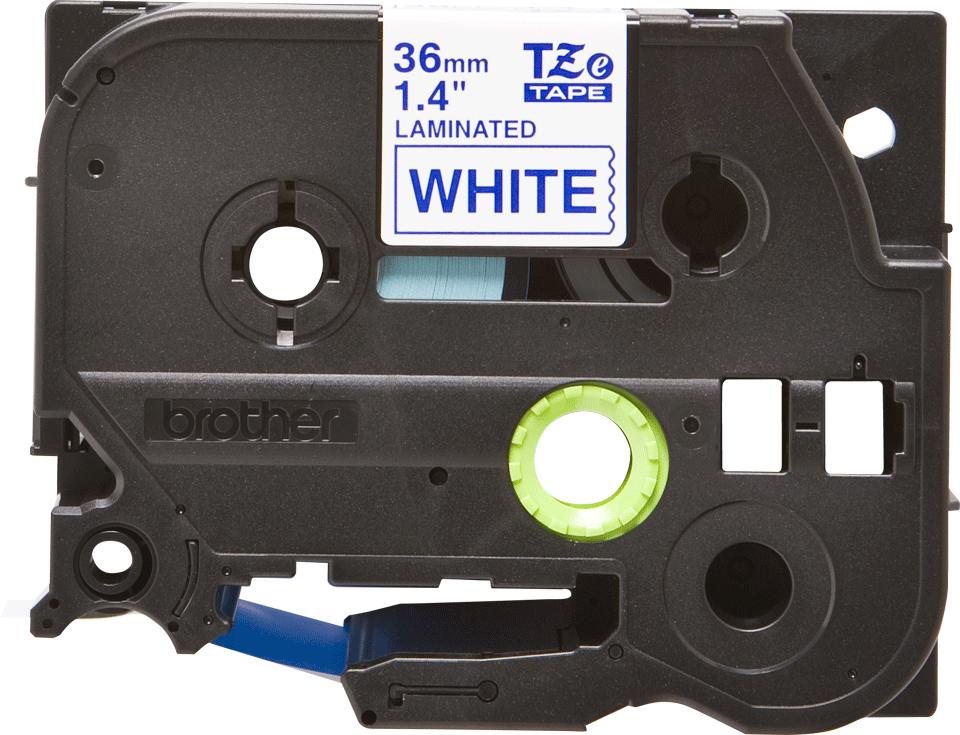 Brother TZe263: оригинальная кассета с лентой для печати наклеек синим на белом фоне, ширина: 36 мм.