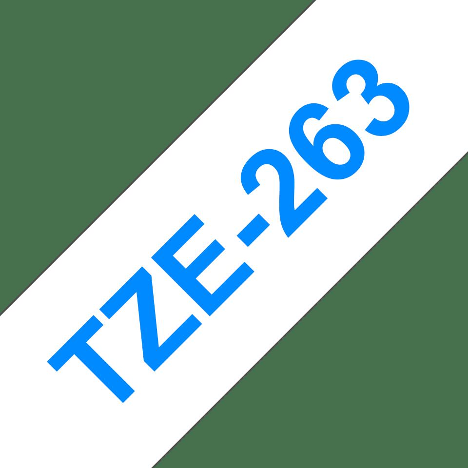 Brother TZe263: оригинальная кассета с лентой для печати наклеек синим на белом фоне, ширина: 36 мм. 3