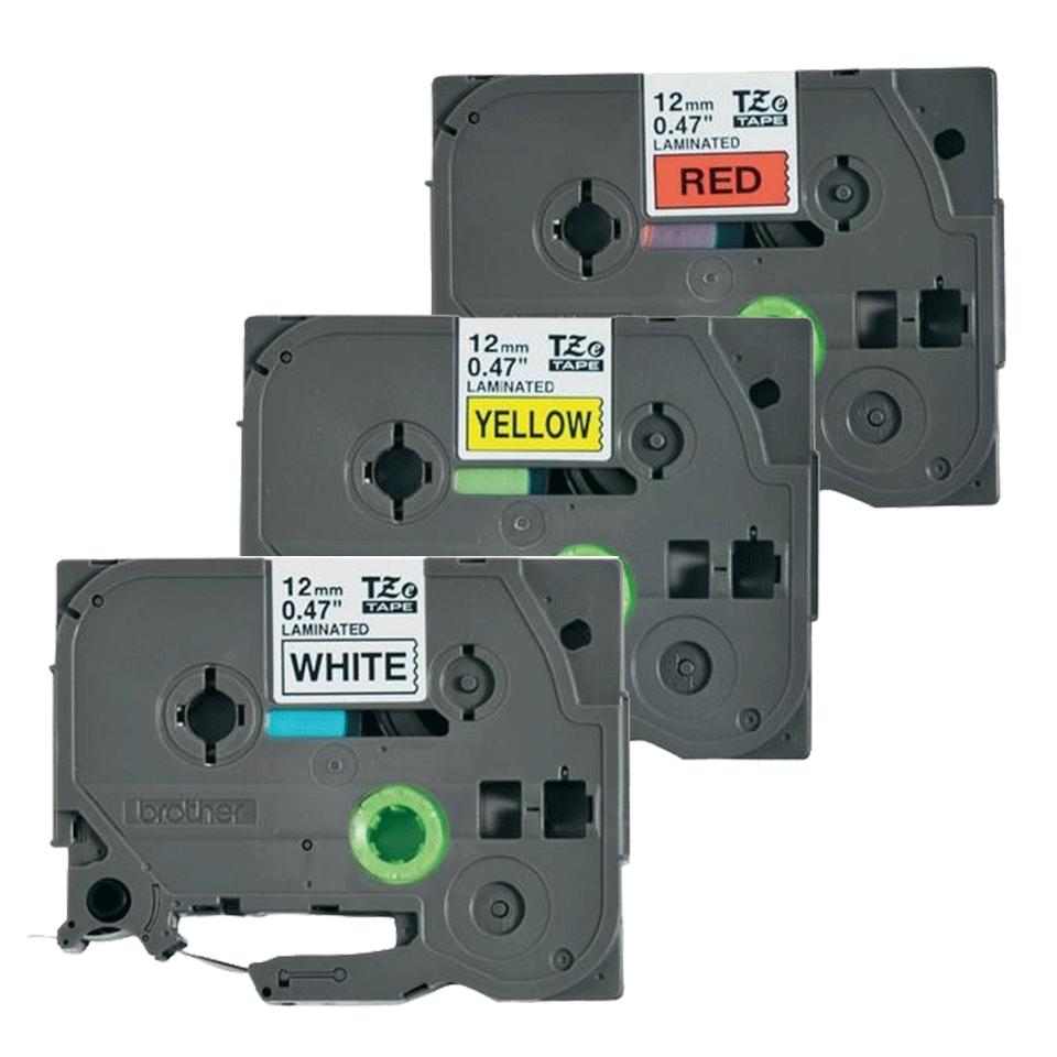 Brother TZe31M3: оригинальная кассета с лентой для печати наклеек черным на красном, белом и желтом фоне, ширина: 12 мм. 2