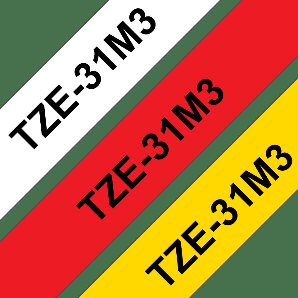 Brother TZe31M3: оригинальная кассета с лентой для печати наклеек черным на красном, белом и желтом фоне, ширина: 12 мм. 3
