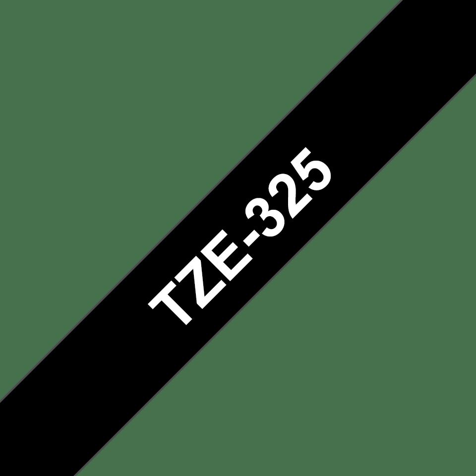 Brother TZe325: оригинальная кассета с лентой для печати наклеек белым на черном фоне, ширина 9 мм. 3