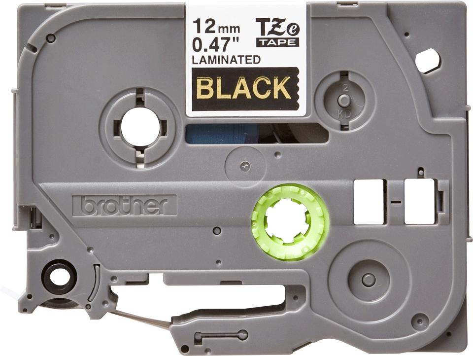 Brother TZe334: оригинальная кассета с лентой для печати наклеек золотистым на черном фоне, ширина: 12 мм.