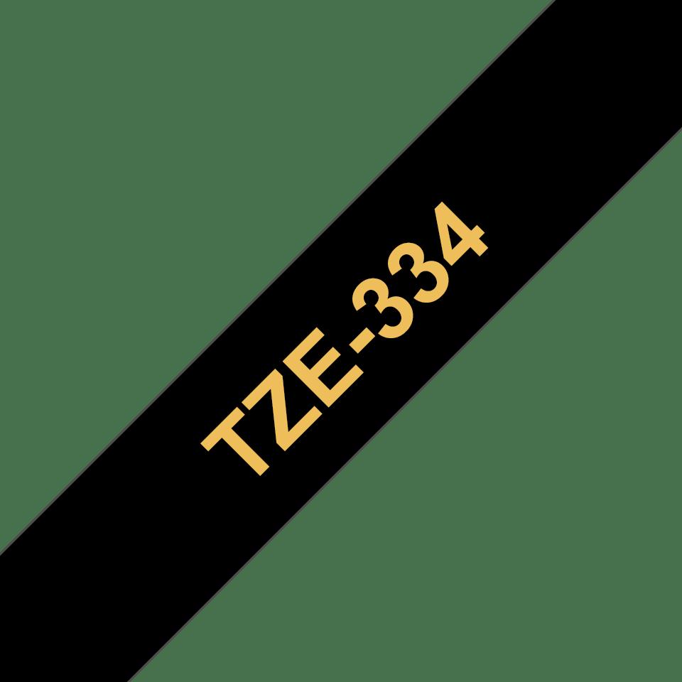 Brother TZe334: оригинальная кассета с лентой для печати наклеек золотистым на черном фоне, ширина: 12 мм. 3