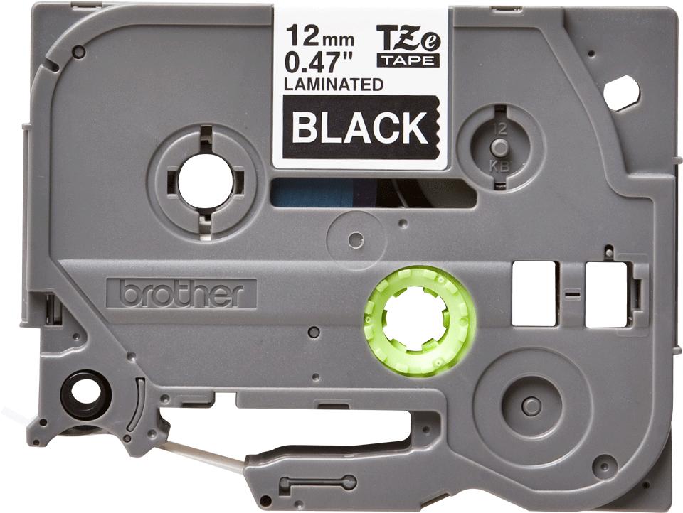 Brother TZe335: оригинальная кассета с лентой для печати наклеек белым на черном фоне, ширина: 12 мм.