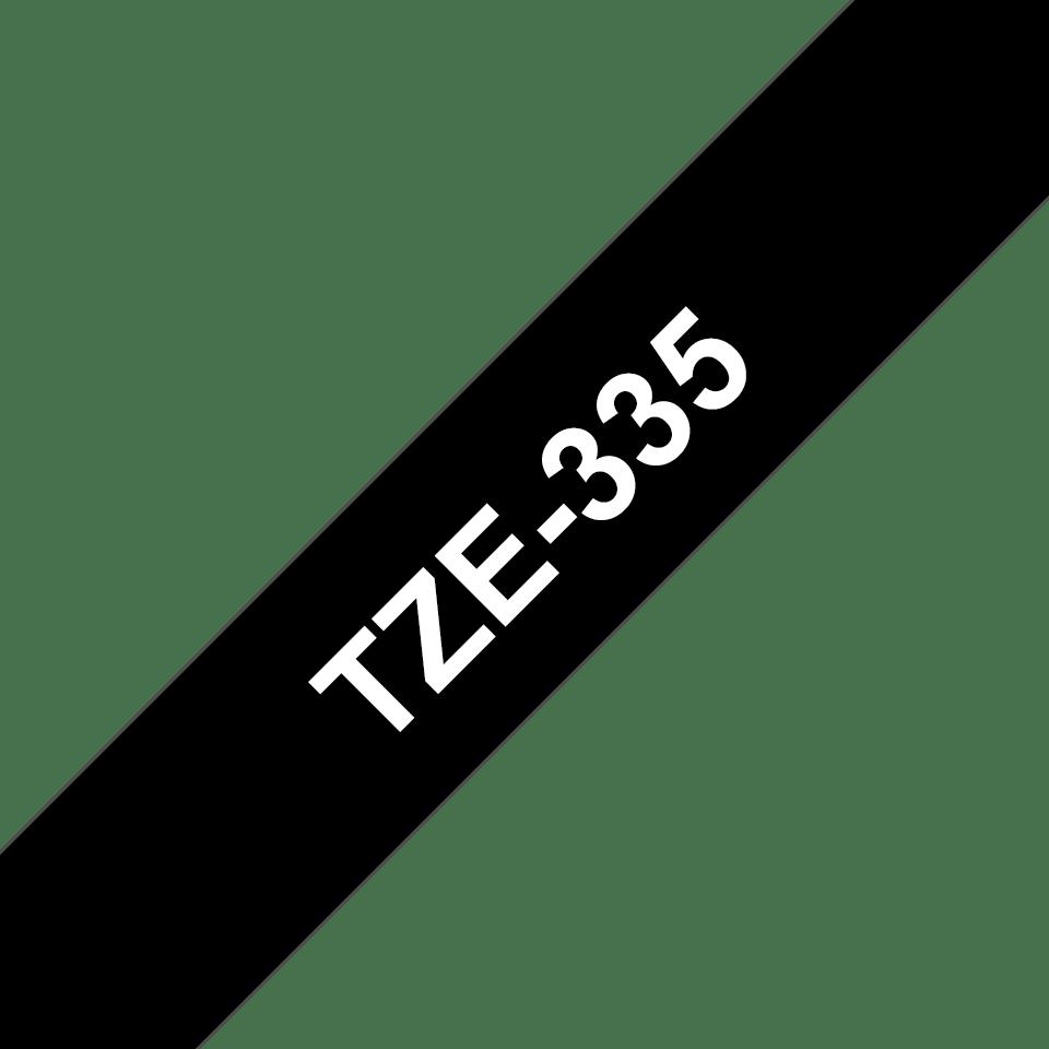 Brother TZe335: оригинальная кассета с лентой для печати наклеек белым на черном фоне, ширина: 12 мм. 3
