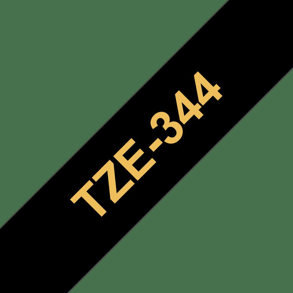 Brother TZe344: оригинальная кассета с лентой для печати наклеек золотистым на черном фоне, ширина: 18 мм. 3