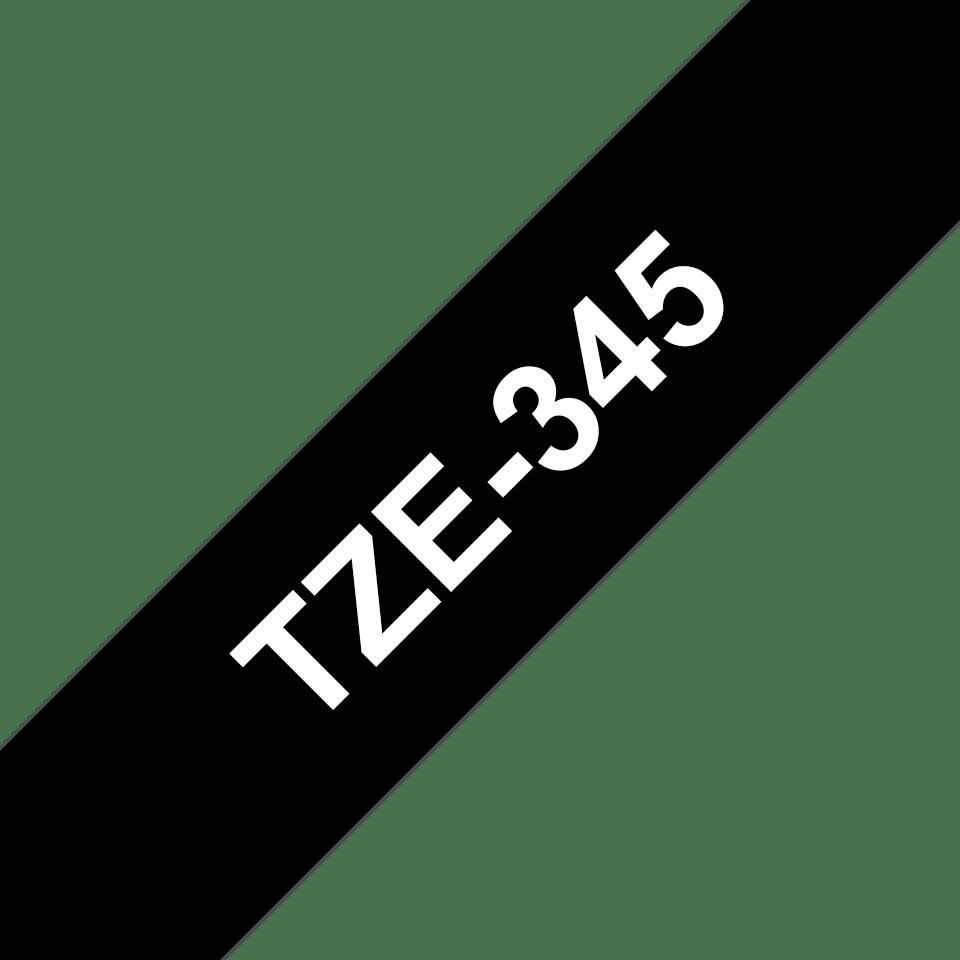 Brother TZe345: оригинальная кассета с лентой для печати наклеек белым на черном фоне, ширина 18 мм. 3