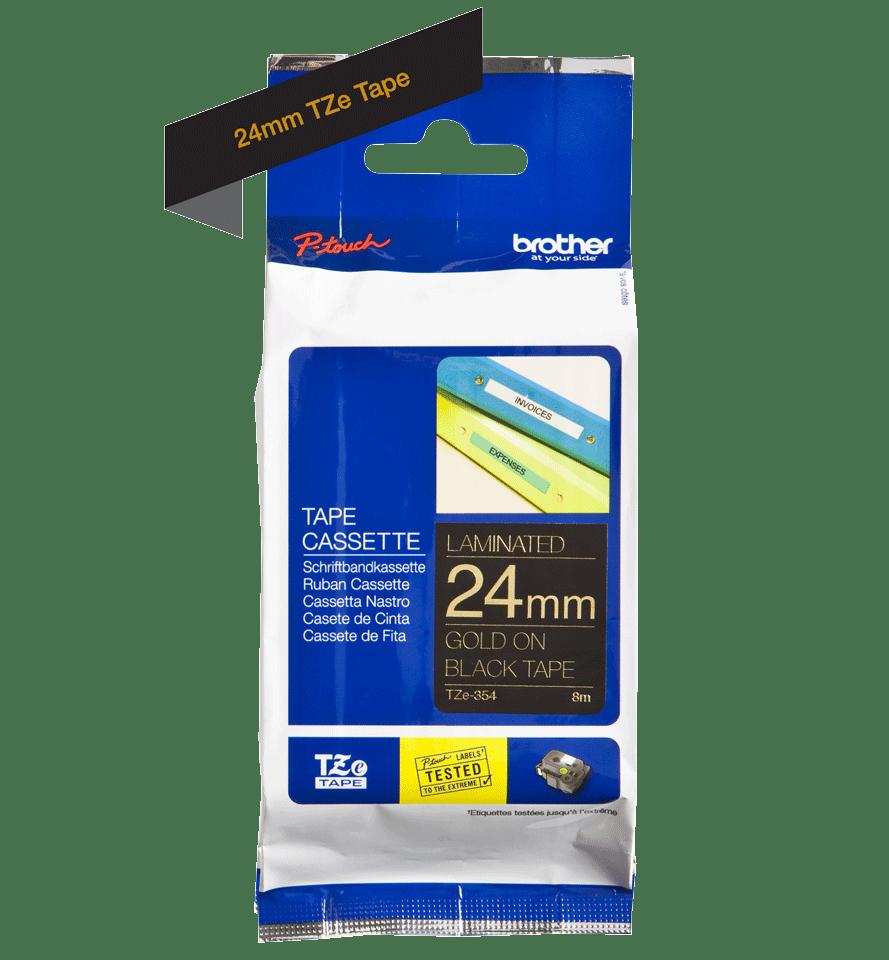 Brother TZe354: оригинальная кассета с лентой для печати наклеек золотистым на черном фоне, ширина: 24 мм. 2