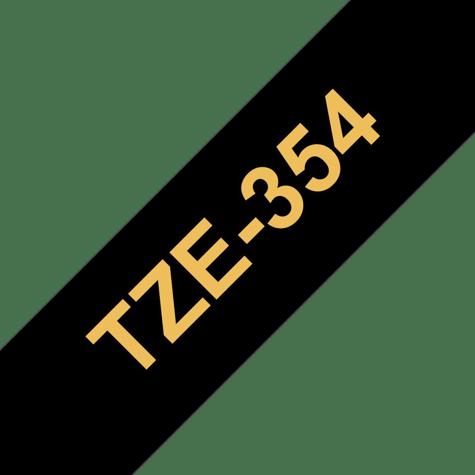 Brother TZe354: оригинальная кассета с лентой для печати наклеек золотистым на черном фоне, ширина: 24 мм. 3