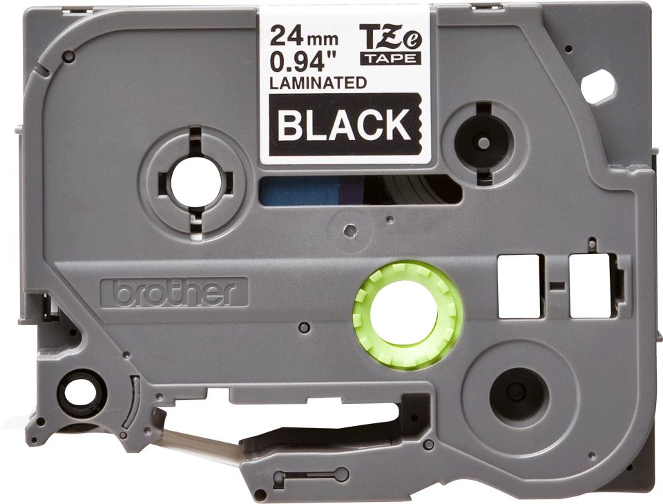 Brother TZе355: оригинальная кассета с лентой для печати наклеек белым на черном фоне, ширина 24 мм.