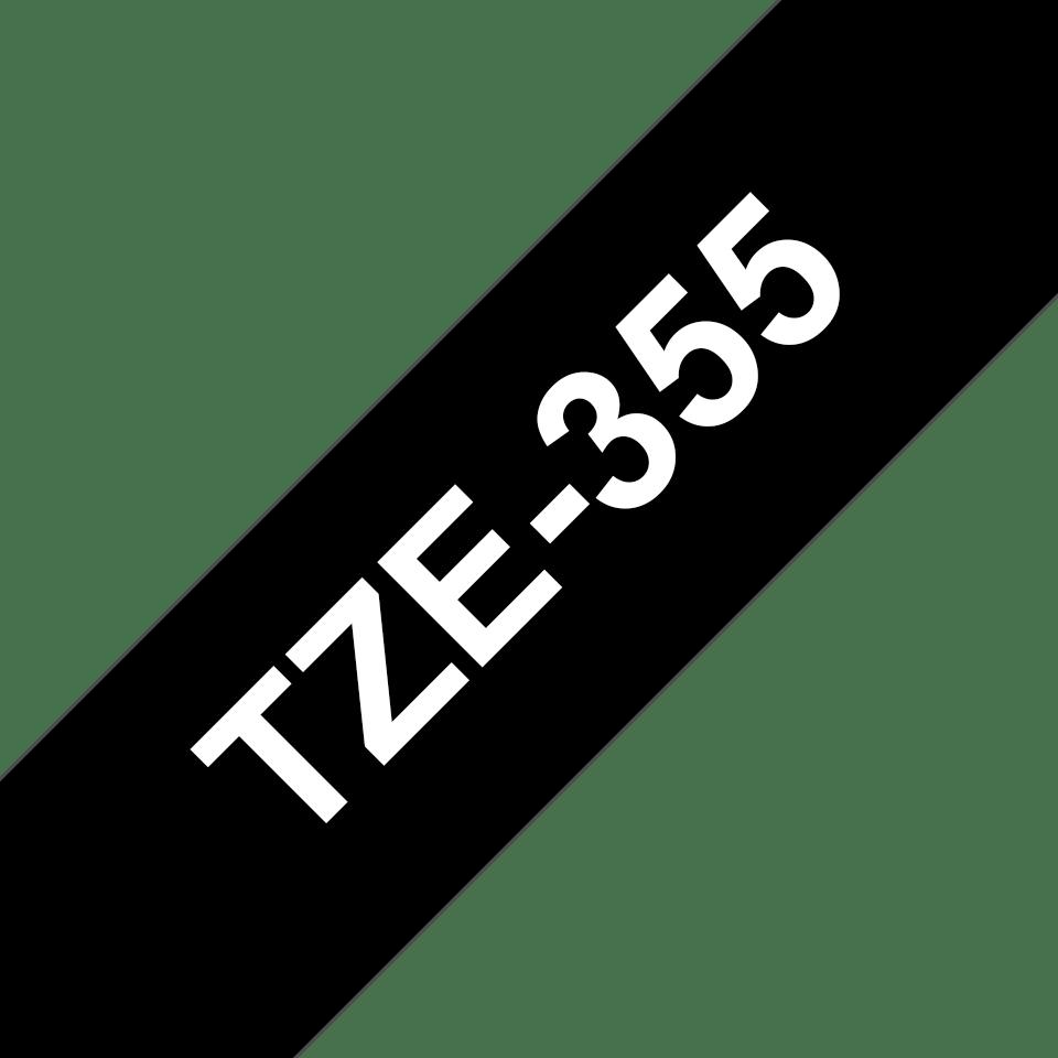 Brother TZе355: оригинальная кассета с лентой для печати наклеек белым на черном фоне, ширина 24 мм. 3