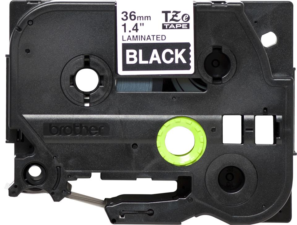 Brother TZe365: оригинальная кассета с лентой для печати наклеек белым на черном фоне, ширина: 36 мм.