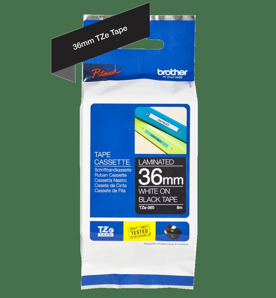 Brother TZe365: оригинальная кассета с лентой для печати наклеек белым на черном фоне, ширина: 36 мм. 2