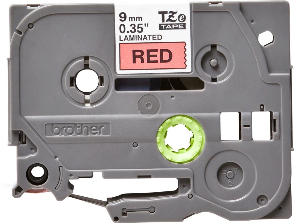 Brother TZe421: оригинальная кассета с лентой для печати наклеек черным на красном фоне, ширина 9 мм.