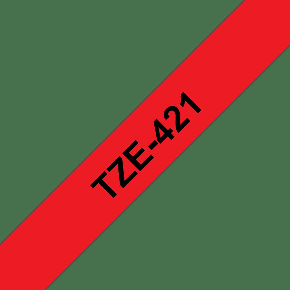 Brother TZe421: оригинальная кассета с лентой для печати наклеек черным на красном фоне, ширина 9 мм. 3