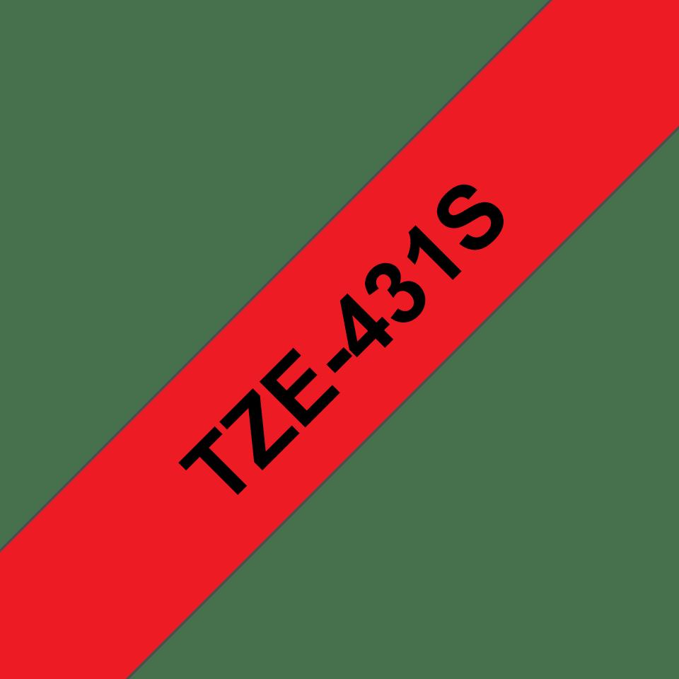 Brother TZe431S: оригинальная кассета с лентой для печати наклеек черным на красном фоне, ширина: 12 мм. 3