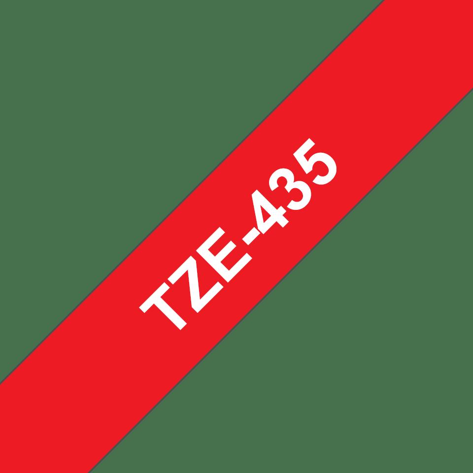 Brother TZe435: оригинальная лента для печати наклеек белым на красном фоне, ширина: 12 мм. 3