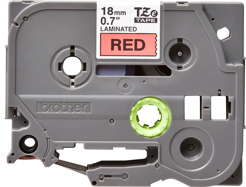 Brother TZe441: оригинальная кассета с лентой для печати наклеек черным на красном фоне, ширина 18 мм.