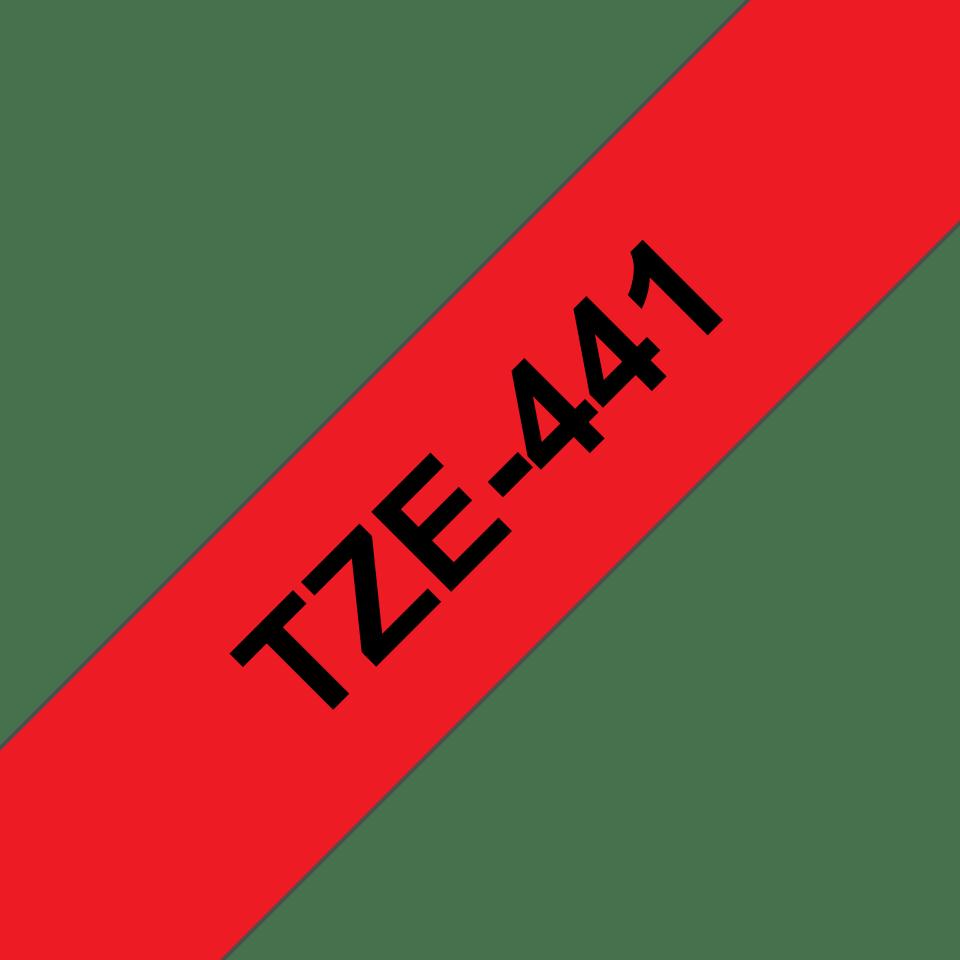 Brother TZe441: оригинальная кассета с лентой для печати наклеек черным на красном фоне, ширина 18 мм. 3