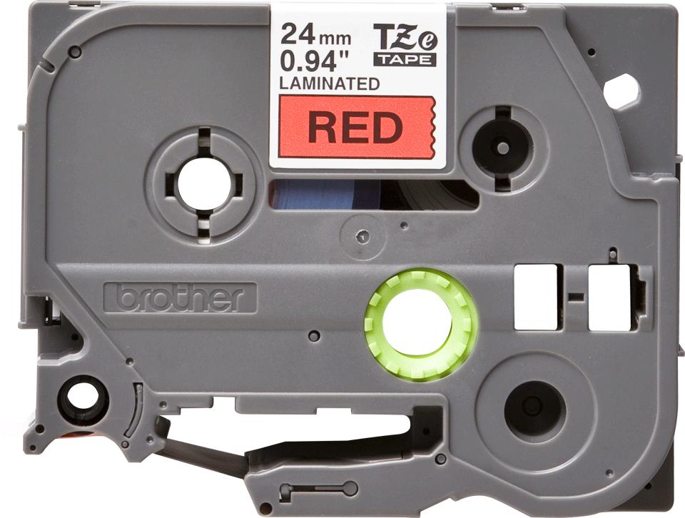 Brother TZe451: оригинальная кассета с лентой для печати наклеек черным на красном фоне, ширина 24 мм.