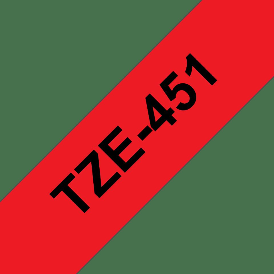 Brother TZe451: оригинальная кассета с лентой для печати наклеек черным на красном фоне, ширина 24 мм. 3