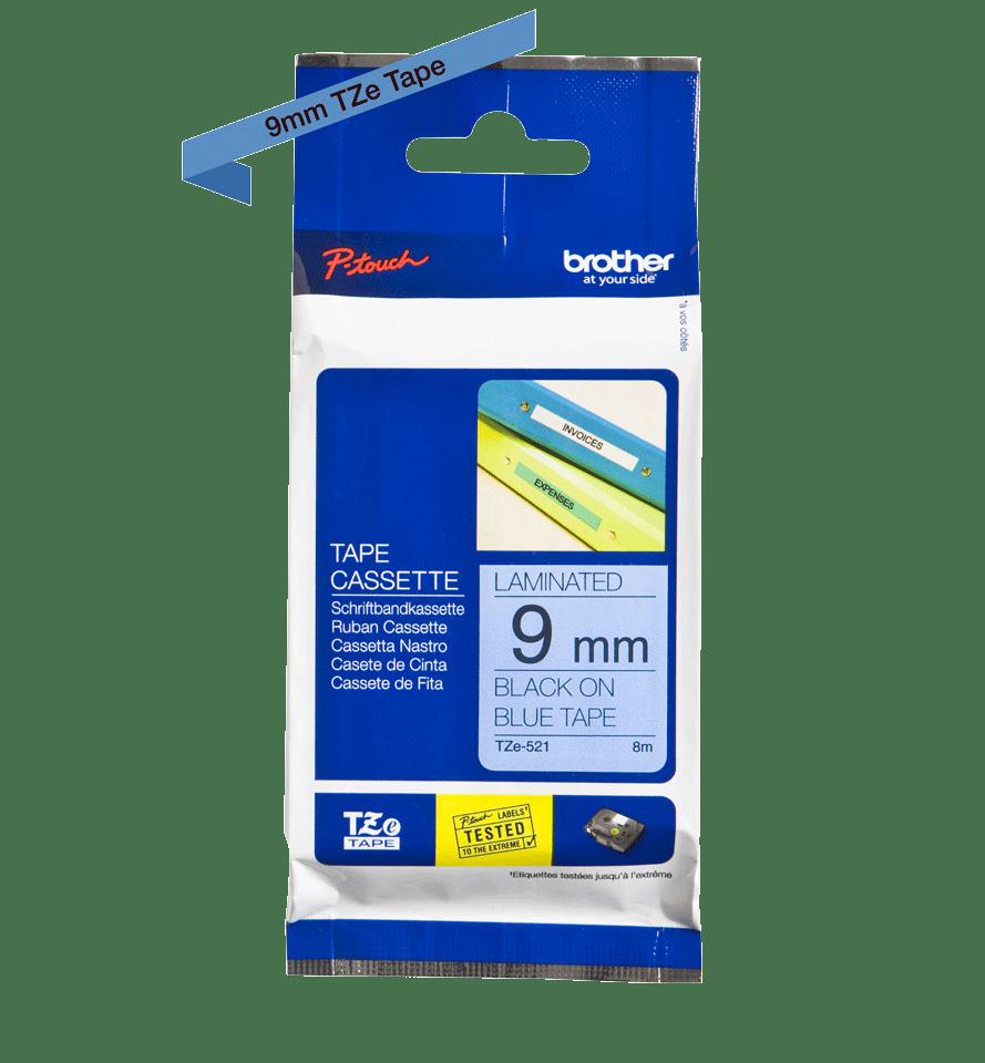 Brother TZe521: оригинальная кассета с лентой для печати наклеек черным на синем фоне, 9 мм. 2