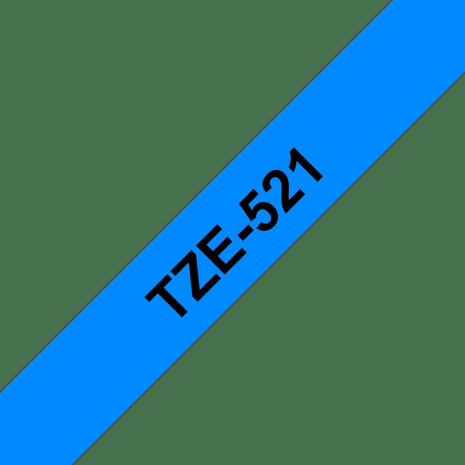 Brother TZe521: оригинальная кассета с лентой для печати наклеек черным на синем фоне, 9 мм. 3