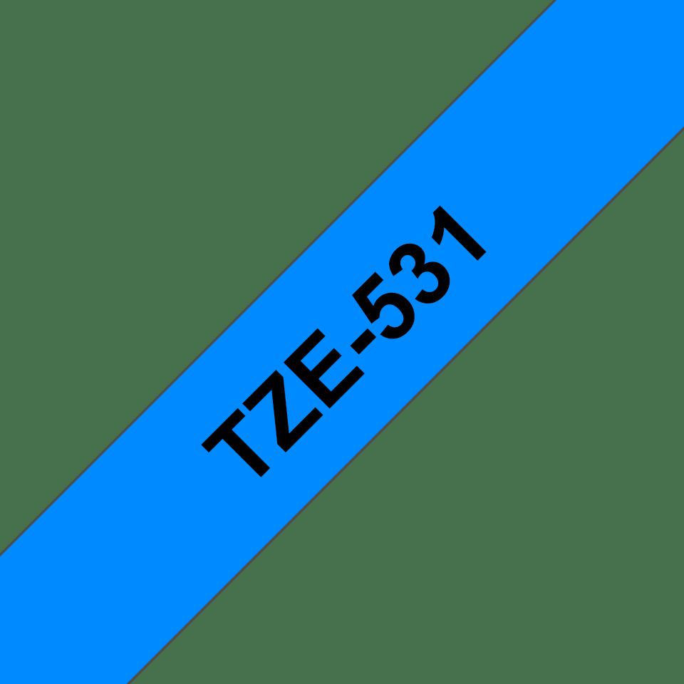 Brother TZe531: оригинальная кассета с лентой для печати наклеек черным на синем фоне, ширина 12 мм. 3