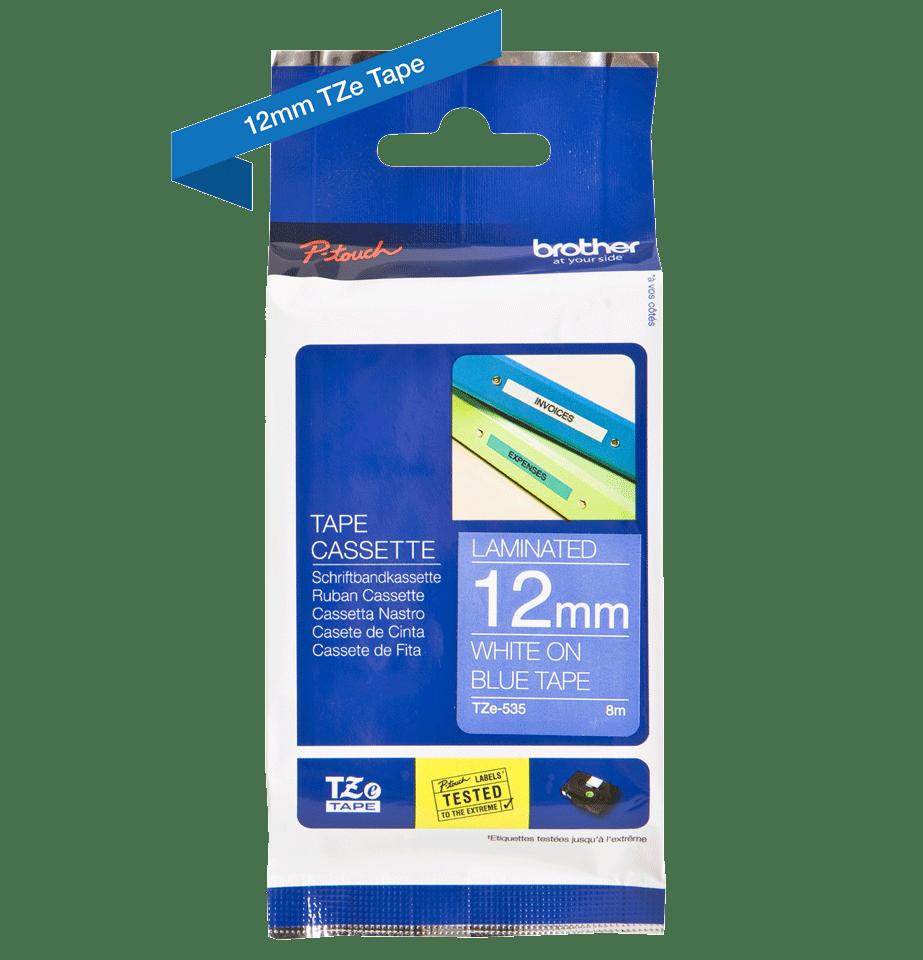Brother TZe535: оригинальная кассета с лентой для печати наклеек белым на синем фоне, ширина: 12 мм. 2