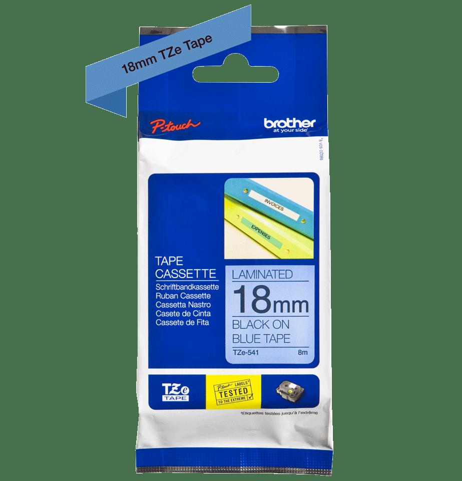 Brother TZe541: оригинальная кассета с лентой для печати наклеек черным на синем фоне, 18 мм. 2