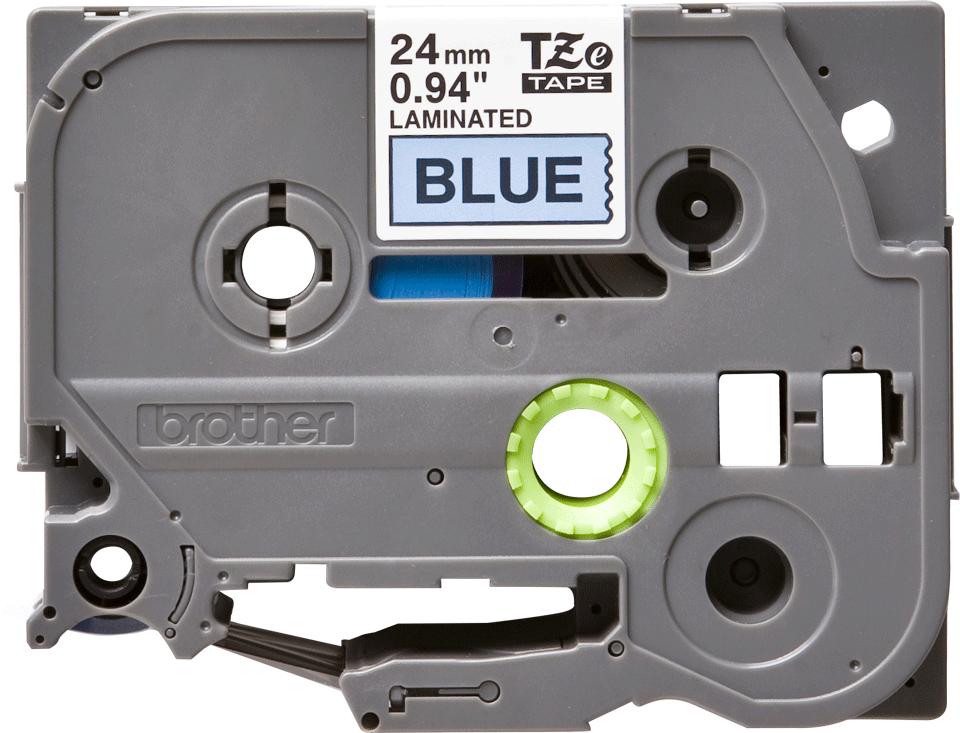 Brother Tzе551: оригинальная кассета с лентой для печати наклеек черным на синем фоне, ширина 24 мм.