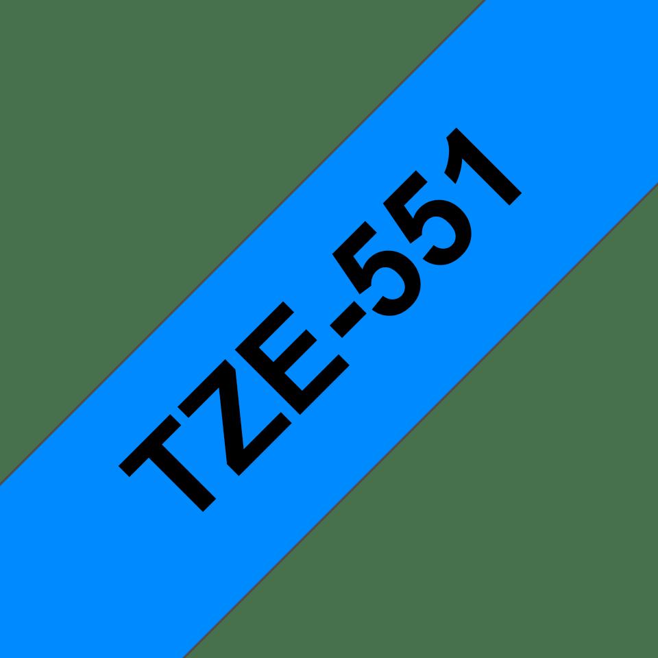 Brother Tzе551: оригинальная кассета с лентой для печати наклеек черным на синем фоне, ширина 24 мм. 3